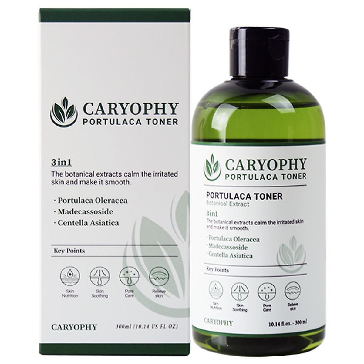 Review Nước hoa hồng dưỡng da giảm mụn Caryophy Portulaca Toner 300ml