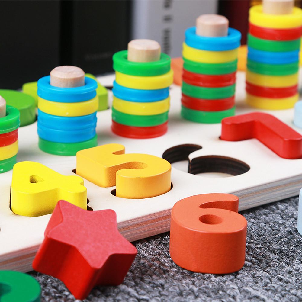 Review Bảng gỗ cho bé, bộ học đếm số và xếp hình khối kèm cột tính thả vòng tròn  bậc thang giúp phát triển trí tuệ