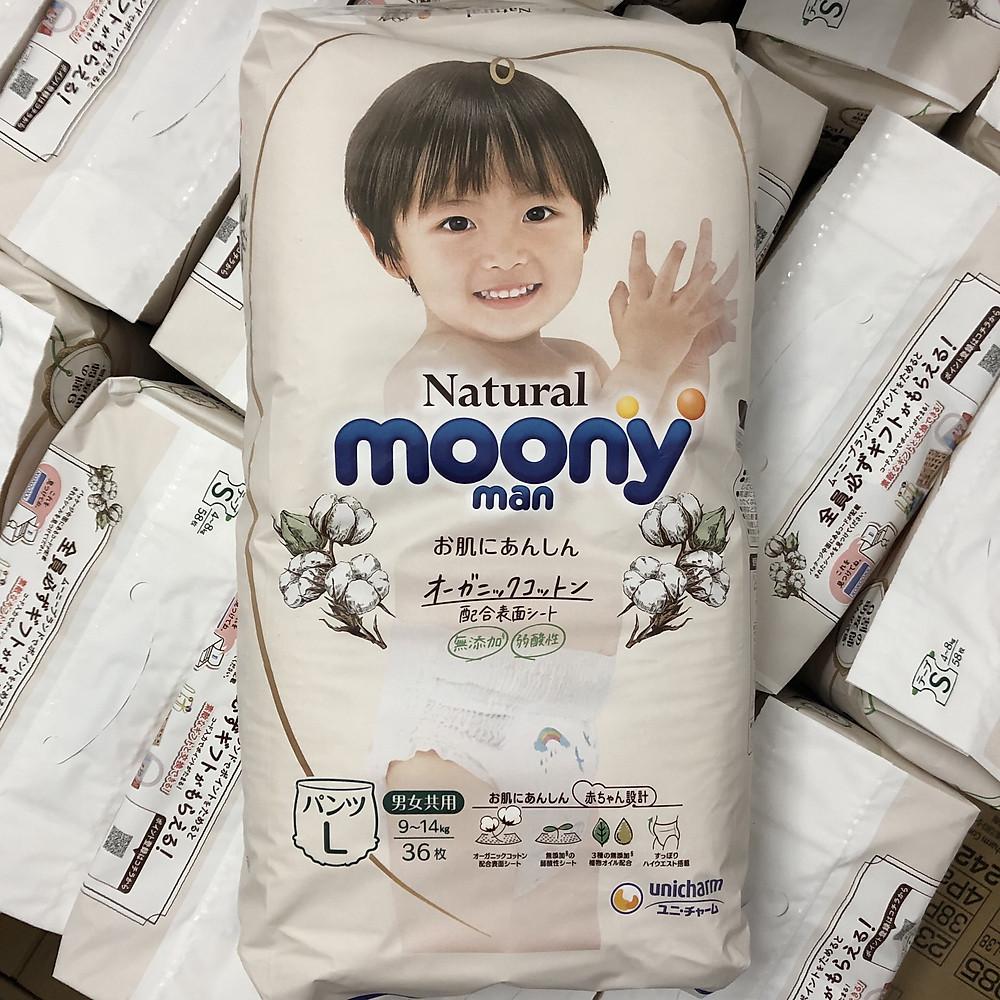 Review Bỉm quần Moony Natural size L36 nội địa Nhật