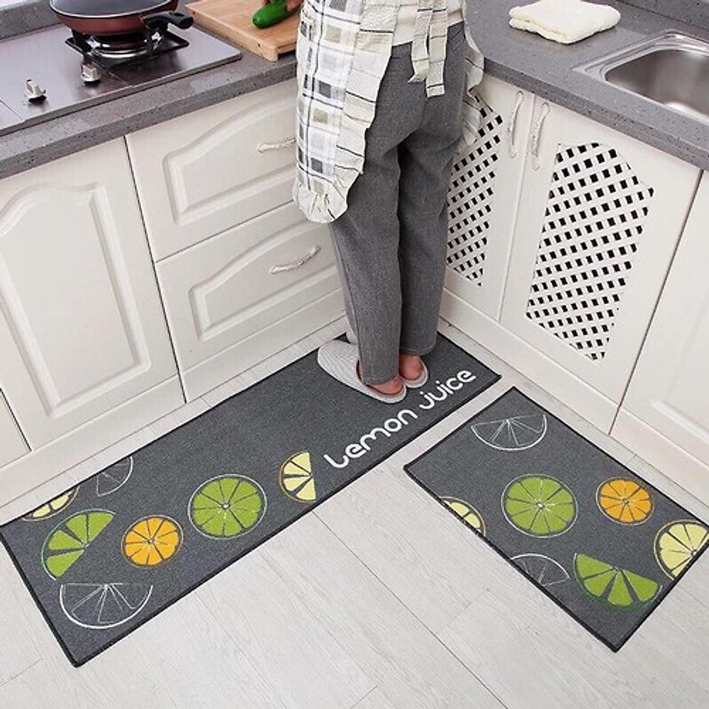 Review Bộ 2 thảm nhà bếp siêu dày dặn 40x60cm và 40x120cm tặng kèm dụng cụ rửa bát lót nồi silicol tiện lợi
