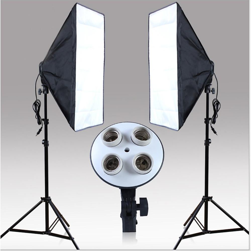 Review Bộ Đèn Studio, Đèn Chụp Ảnh Sản Phẩm Chân Đèn 2m Kèm Softbox 50x70 Hỗ Trợ Sáng, Đui 4 Bóng