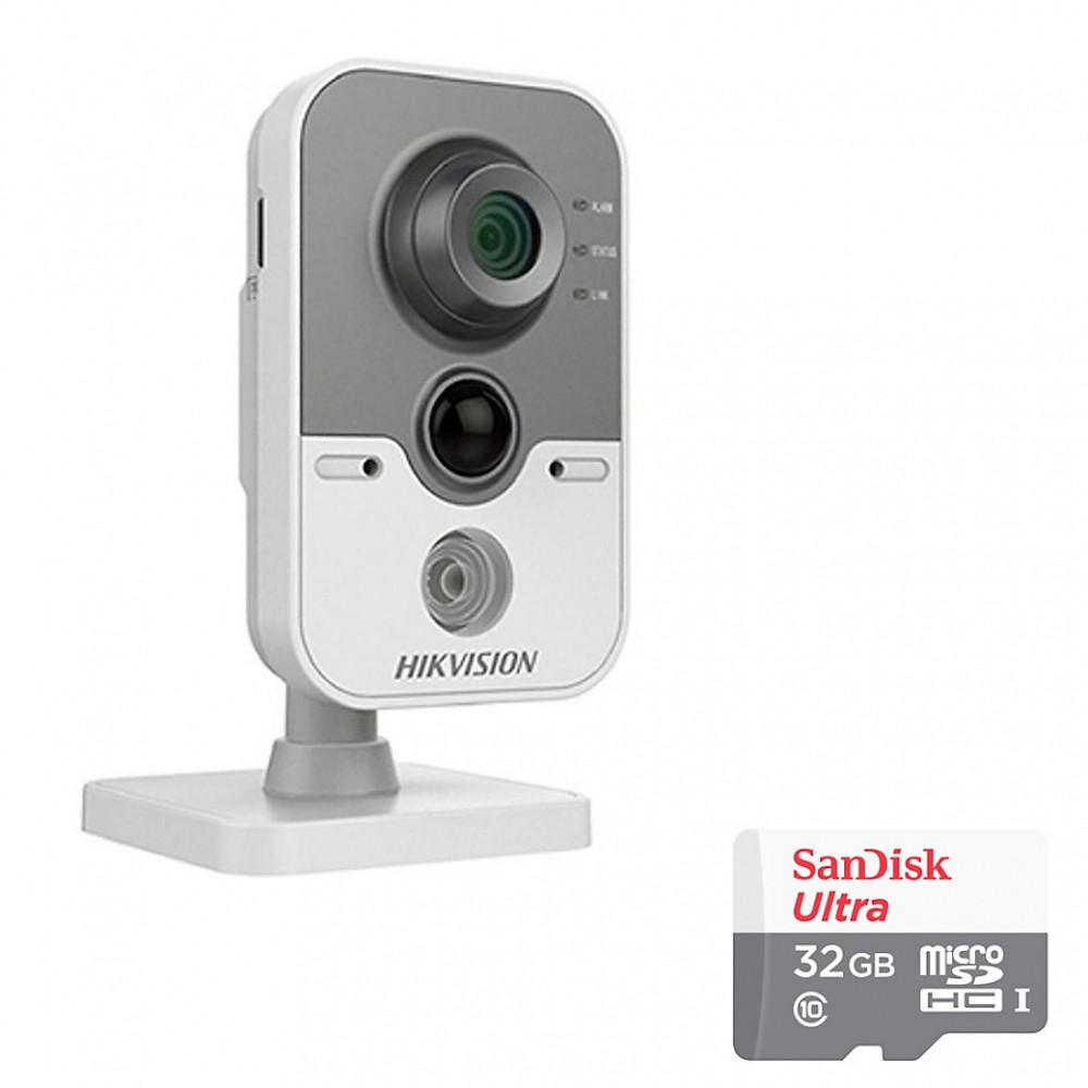 So Sánh Giá Camera IP Cube DS-2CD2420F-IW Hikvision 2.0MP Và Thẻ Nhớ 32GB - Tặng Kèm Tai Nghe Bluetooth - Hàng Chính Hãng