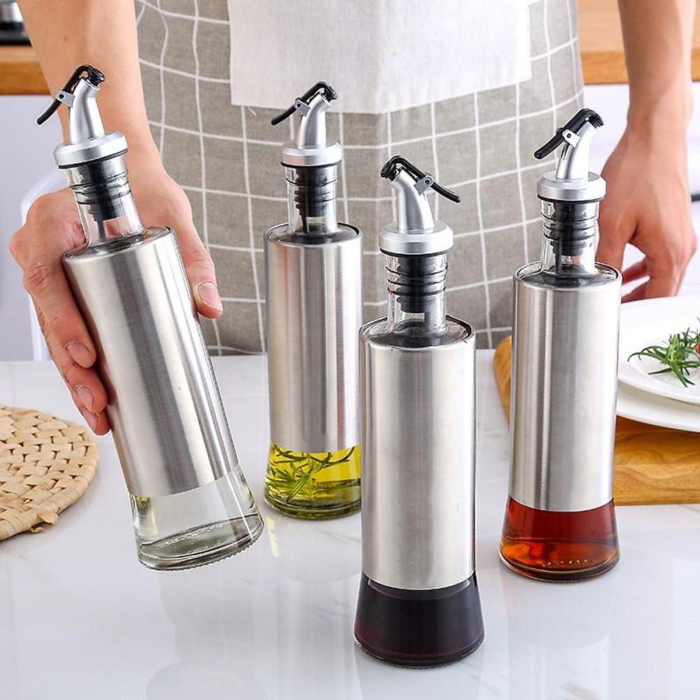 Review Chai rót dầu ăn, nước tương thủy tinh bọc Inox 304 cao cấp 300ml bằng thủy tinh chai hũ lọ gia vị dụng cụ nhà bếp tiện ích VANDO