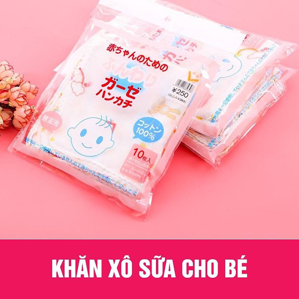 Review Combo 10 khăn sữa hoa xuất nhật cho bé