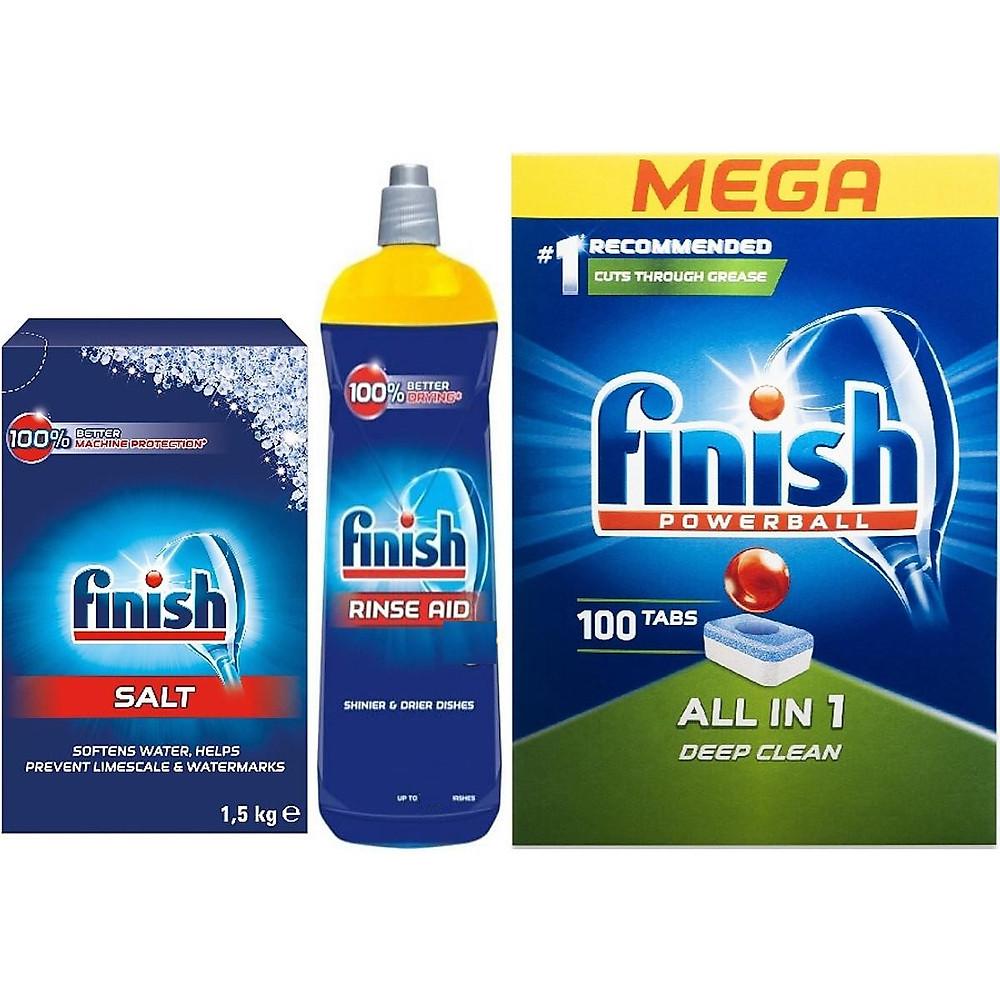 Review combo Viên rửa bát finish all in one 100 viên+Dung dịch Nước làm bóng finish 750ml +Muối rửa bát finish 1