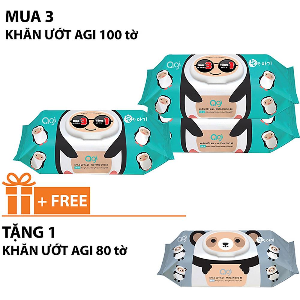 Review Comoo 3 gói khăn ướt Agi 100 tờ không hương +tặng 1gói khăn ướt Agi 80 tờ không hương ( Giao mẫu ngẫu nhiên )