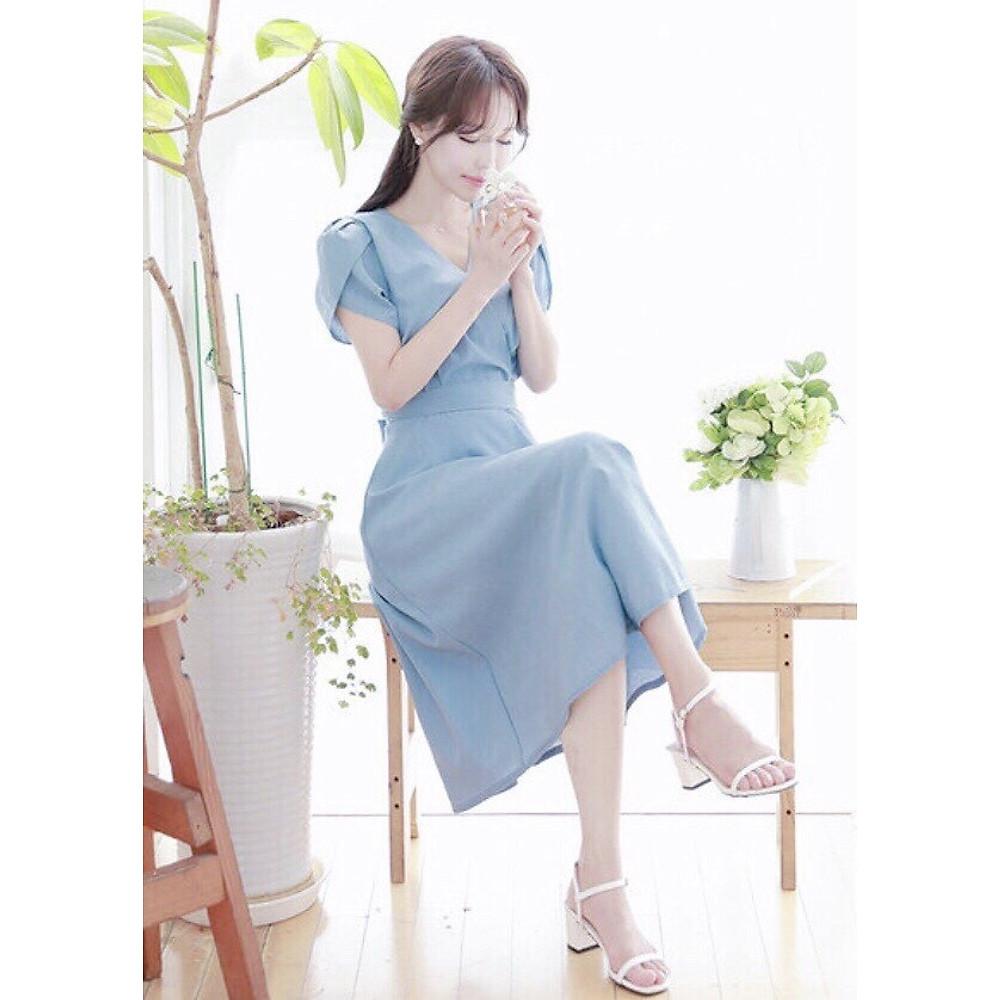 Đánh giá Đầm mila xanh form dài thắt eo