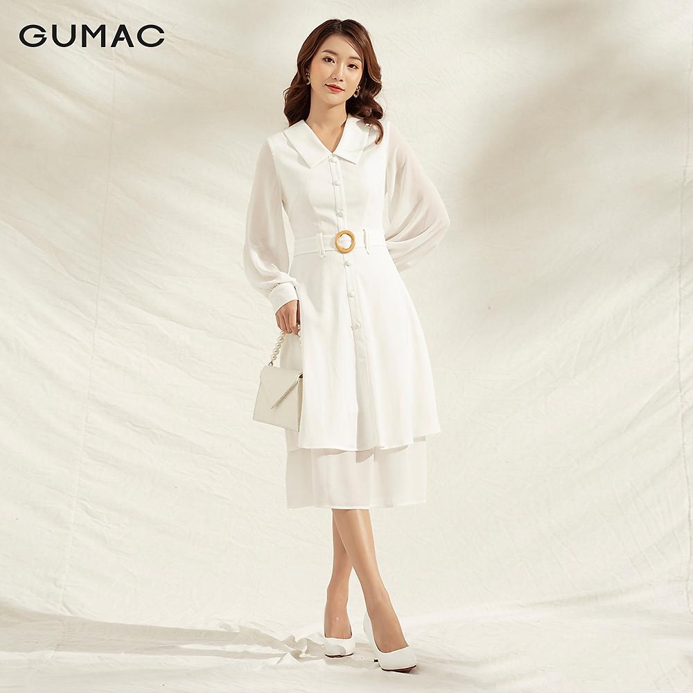 Đánh giá Đầm nữ dáng xòe DA1149 GUMAC thiết kế  tay dài khuyên eo