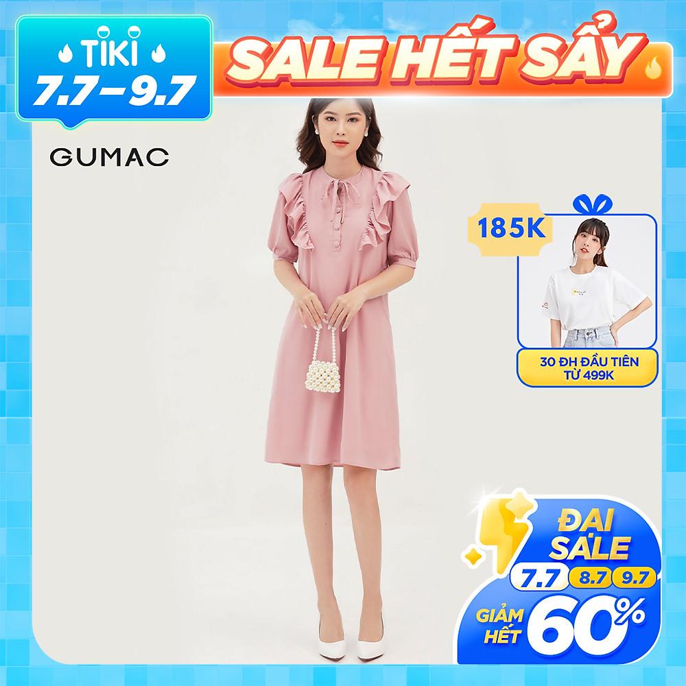 Review Đầm suông nữ thiết kế phối bèo vai GUMAC DB308