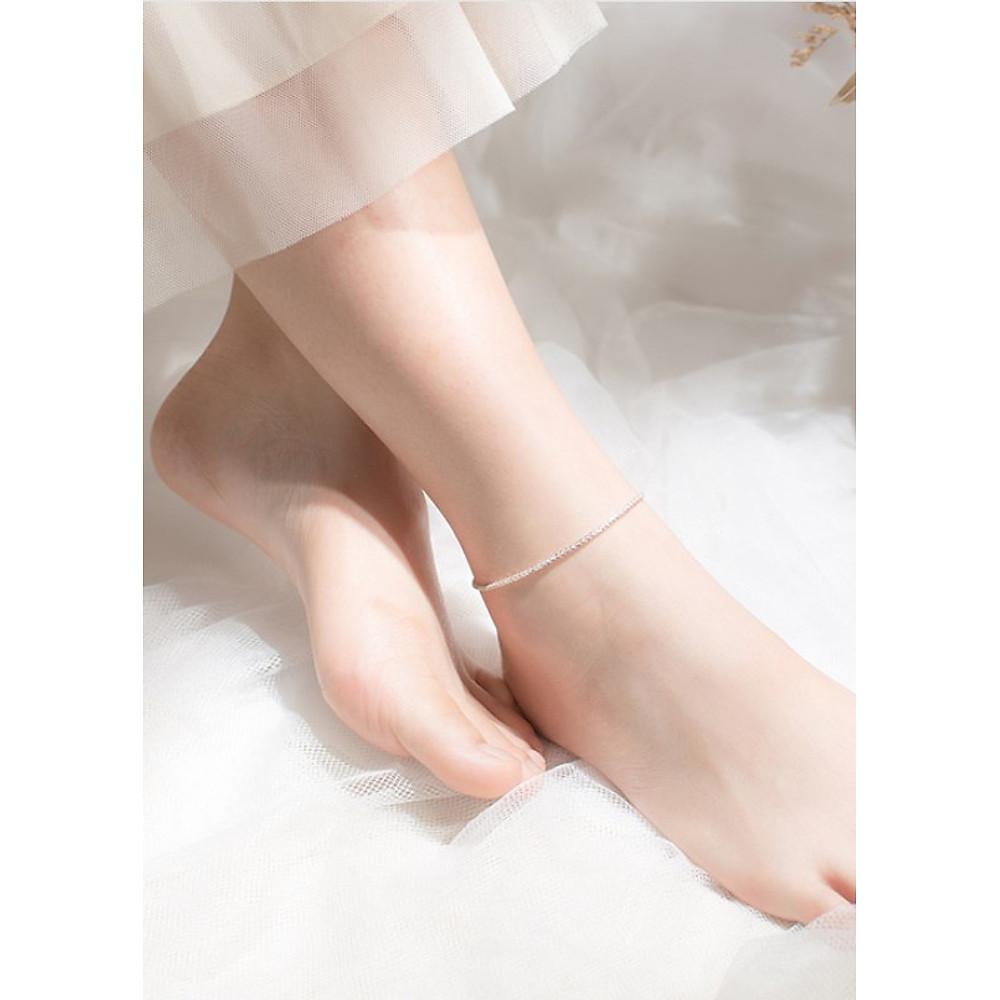 Review Lắc chân bạc nữ cao cấp dây đơn sang chảnh LCBN186