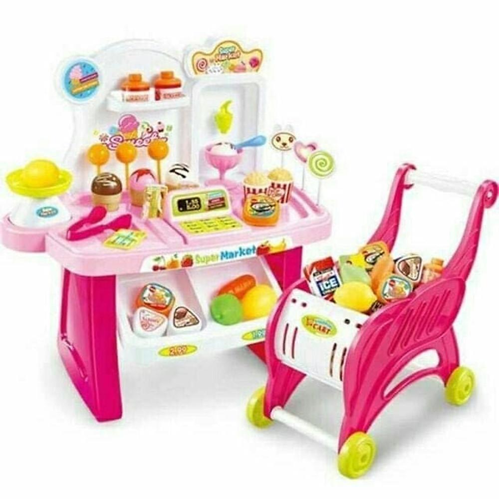 Đánh giá (Phiên bản mới 40 chi tiết, có xe đẩy đồng bộ) Bộ đồ chơi phụ kiện cửa hàng bán kem và kẹo ngọt cho búp bê có sử dụng pin (màu ngẫu nhiên)
