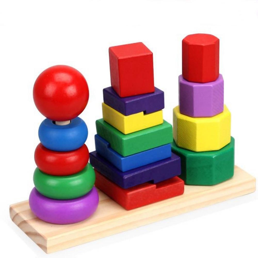 Review Tháp xếp chồng 3 trụ hình khối, đồ chơi gỗ cho bé phát triển kỹ năng toàn diện