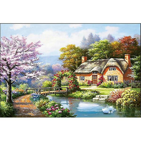 So Sánh Giá Tranh Thêu Chữ Thập Thêu Kín Phong Cảnh Ngôi Nhà (96*53cm) Chưa Thêu-A1188
