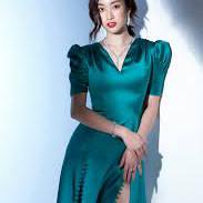 Đánh giá, review Đầm lụa mịn xanh